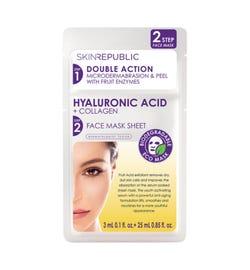Skin Republic 2 Step Hyaluronic Acid + Collagen Face Mask Sheet