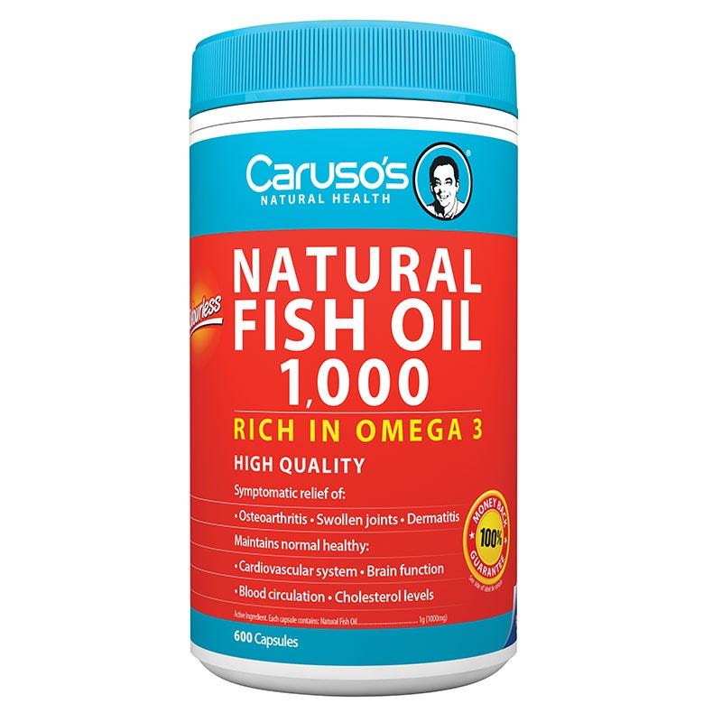 Caruso 39 s natural health natural fish oil 1000mg cap x 600 for Daily recommended fish oil