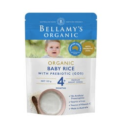 Bellamy's Organic Baby Rice Cereal with Prebiotic 125g (Limit 2 per order)