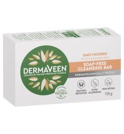 DermaVeen Daily Nourish Soap-Free Cleansing Bar for Dry & Sensitive Skin 115g