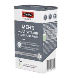 Swisse Ultivite Men's Multivitamin + Superfood Blend Powder Sachets 7g X 7