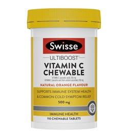 Swisse Ultiboost Vitamin C Chewable Natural Orange Flavour Tab X 110