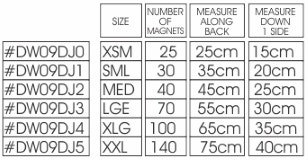 Dick Wicks Magnetic Dog Jacket Size Chart
