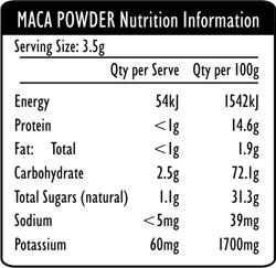 Organic Maca Powder Nutritional Information